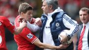 Happy returns: Mourinho during an infraction with Gerrard. Image: Wikimedia Commons