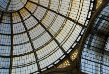 The super reinforced triple-glazed glass ceiling of theatre