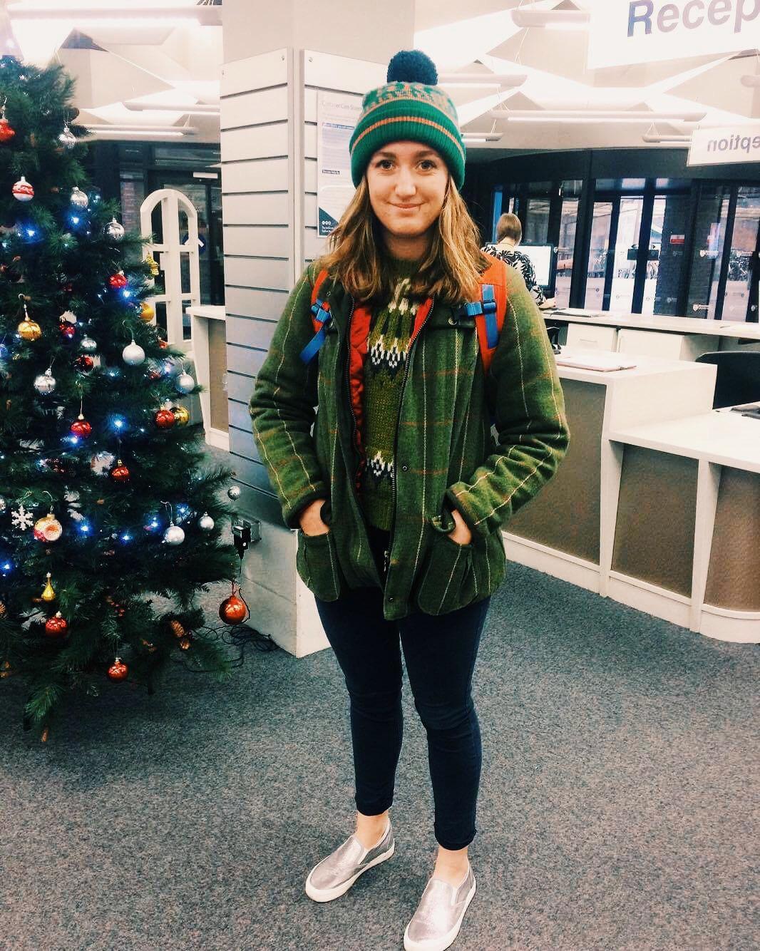 Jess Hepburn  Jacket: Retro Newcastle Knitted jumper: Topshop  Hat: Rab