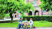 International Students on Newcastle University campus. Image: Newcastle University.