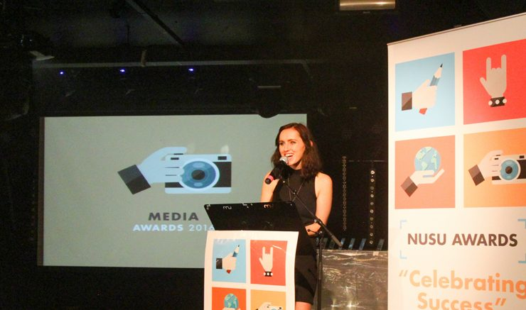 Former editor of the Courier Victoria Armstrong, speaking at last years media awards. Image: Kevin Wong.