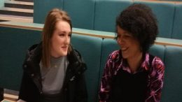 News Editor Helena Vesty discussing Newcastle's future with Chi Onwurah MP. Image: Chi Onwurah MP.