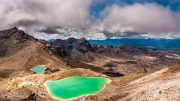 The Emerald Lakes seen from the Red Crater. This is about half way on the Tongariro Alpine Crossing, one of the most impressive walks in New Zealand.