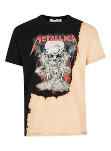 TOPMAN Black and Peach Metallica Print Oversized T-Shirt, £20