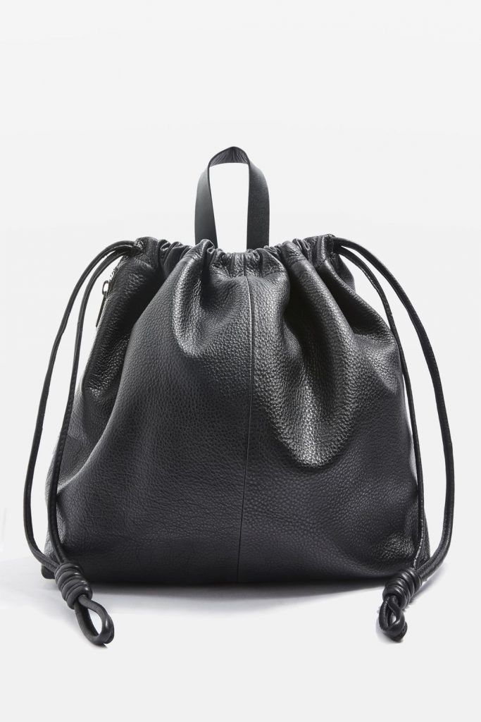 TOPSHOP Premium Leather Drawstring Backpack, £85