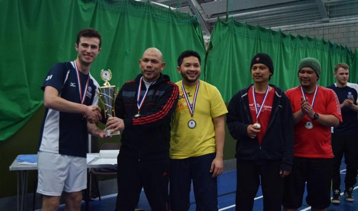 Worthy winners: Ruzaidi Bin Ismail collects the rtophy off John Haswell. Image: James Sproston