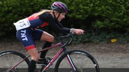 Bombing along: Louise McLeman completes her 25km stint on the bike at the Stockton Duathlon. Image: Dave Charnley
