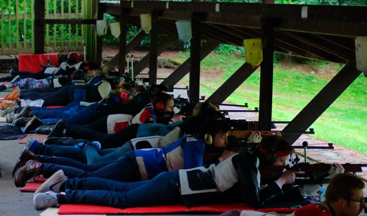Rubbing shoulders: the Rifle Club shot shoulder-to-shoulder against the other universities. Image: Akmal Hakim