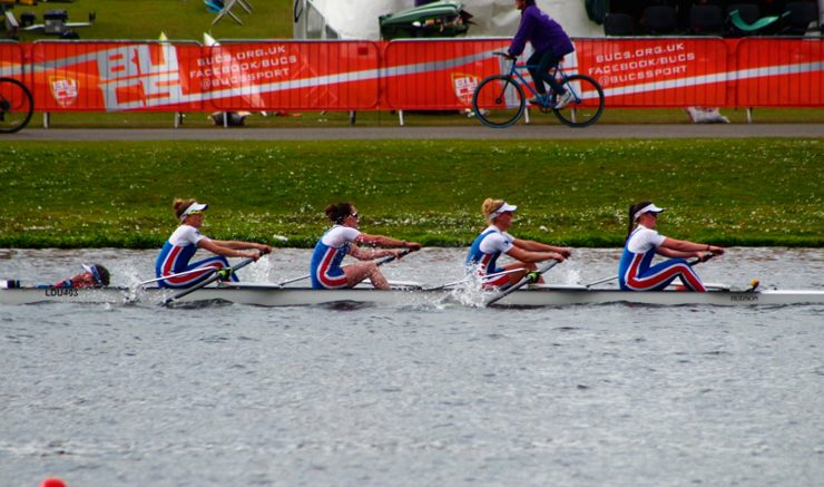 Fearsome fours: the women's intermediate coxed four on their way to gold. Image: James Waller