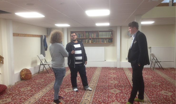 A multi-faith space?: NUSU President Ronnie Reid and Education Officer Rowan South get a tour of the Muslim prayer space in the King George VI building. Image: James Sproston