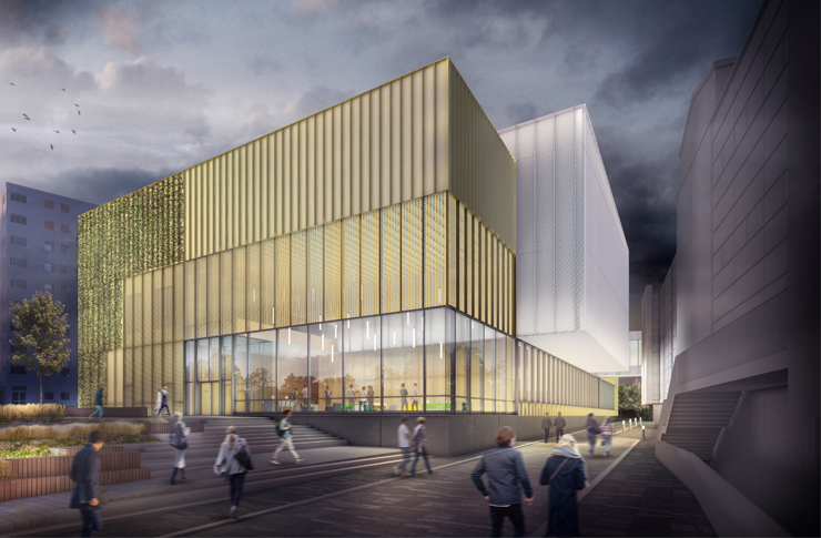 Artist's impression of the new Sports Centre extension showing the link bridge between the old and the new parts of the building
